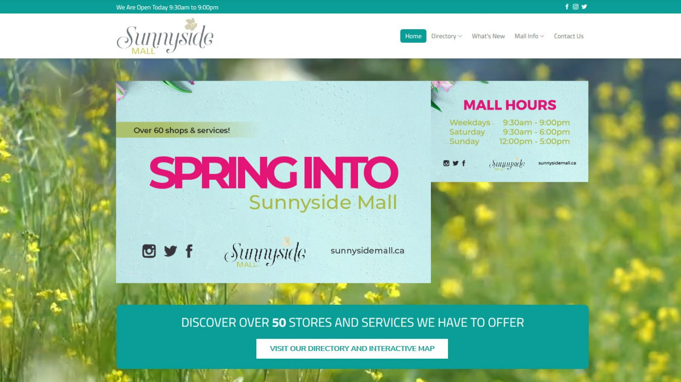 Sunnyside Mall web design map development tenant directory retail shops