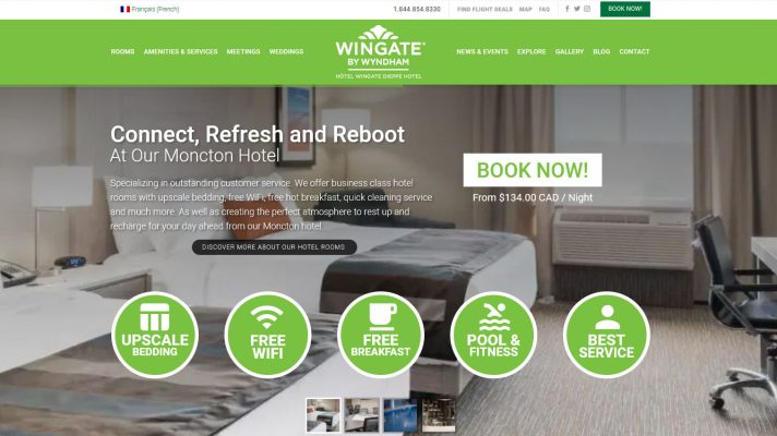 Wingate by Wyndham, Hotel Wingate Dieppe website design, web design, seo search engine optimization