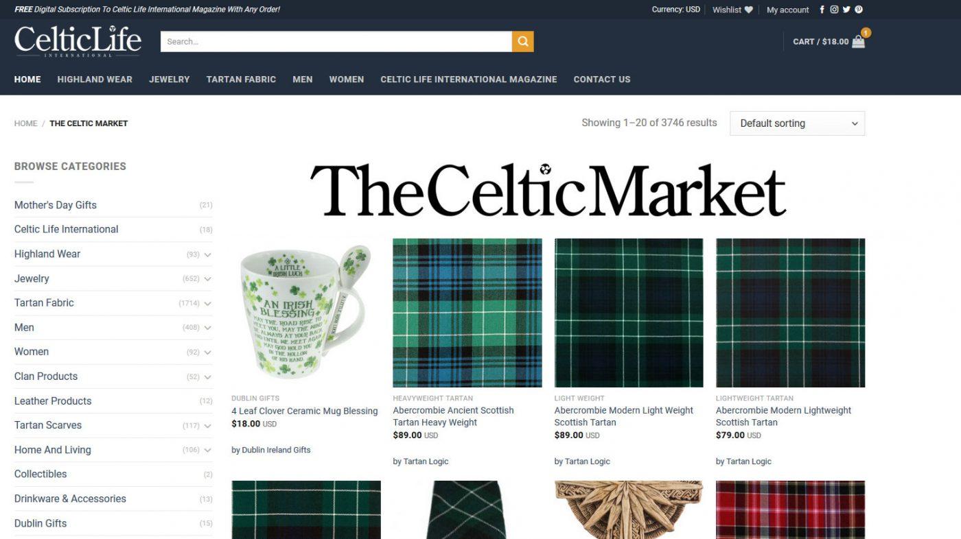 Celticlife.com The Celtic Market eccommerce online store multivendor multi vendor sellers irish store